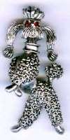 Vintage JJ Pewtertone Poodle Dog Pin