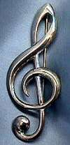 Signed Sterling Treble Clef Pin